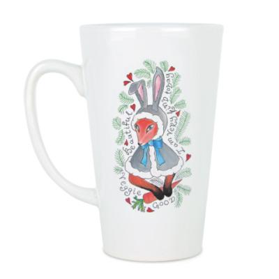 Чашка Латте Лиса в костюме зайца.
