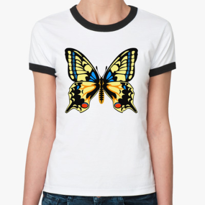 Женская футболка Ringer-T Бабочка МАХАОН
