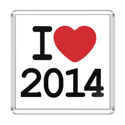 Магнит Новогодний принт I Love 2014