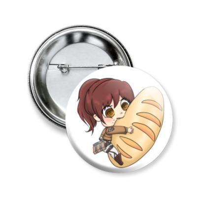 Значок 50мм Shingeki no Kyojin. Саша и хлебушек