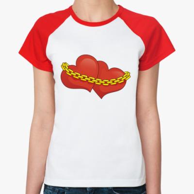 Женская футболка реглан Сердца и цепь