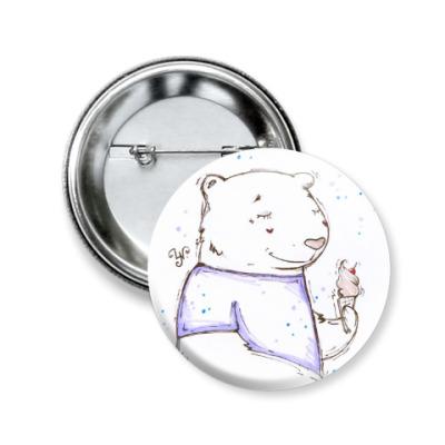 Значок 50мм Медведь с мороженым