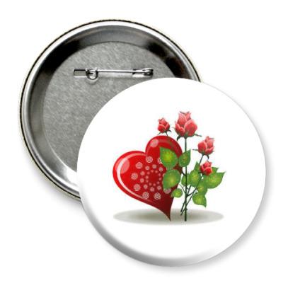 Значок 75мм Сердце и розы