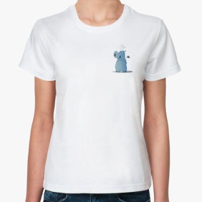 Классическая футболка  повар бегемот