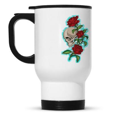 Кружка-термос череп и розы