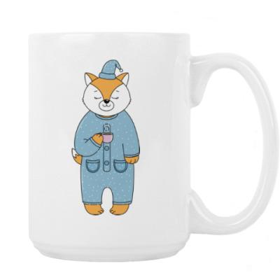 Лис с чашечкой утреннего кофе