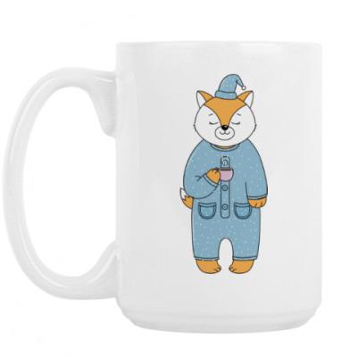 Кружка Лис с чашечкой утреннего кофе