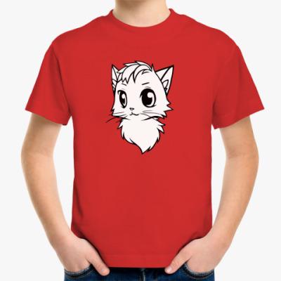Детская футболка Белый кот new