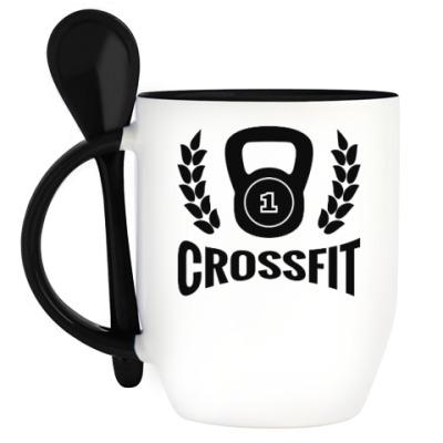 Кружка с ложкой Кроссфит логотип с гирей