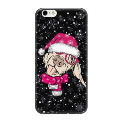 Чехол для iPhone 6/6s Собака Санта показывает язык