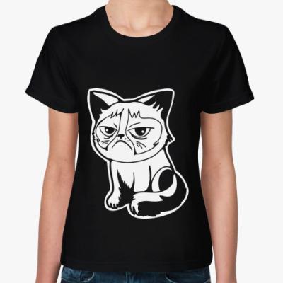Женская футболка Угрюмый кот Тард - Grumpy Cat