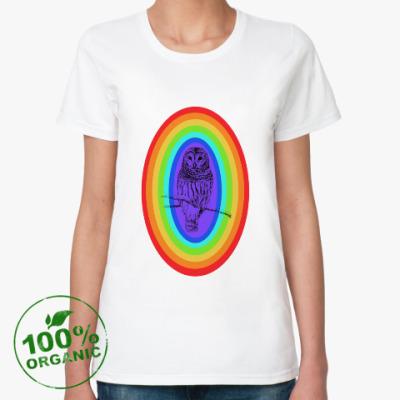 Женская футболка из органик-хлопка Радужная сова