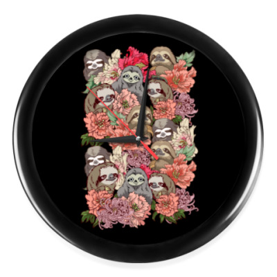 Настенные часы Ленивцы в цветах