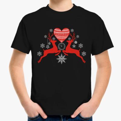 Детская футболка Олени Любовь Новый год