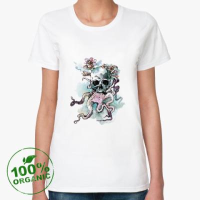 Женская футболка из органик-хлопка Череп-кальмар