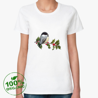 Женская футболка из органик-хлопка Синица на ветке