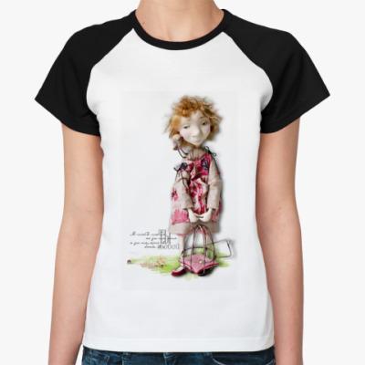 Женская футболка реглан Леля и птичка