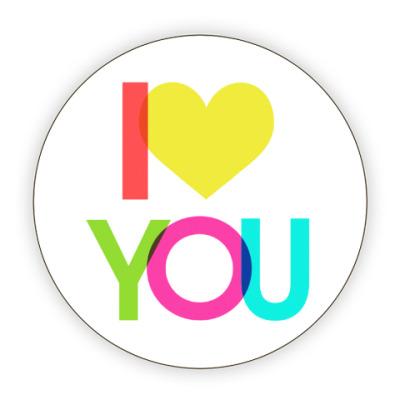 Костер (подставка под кружку) I love you