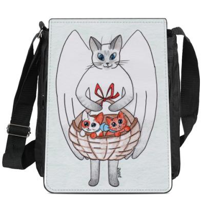 Сумка-планшет Счастье в дом (кот-ангел)