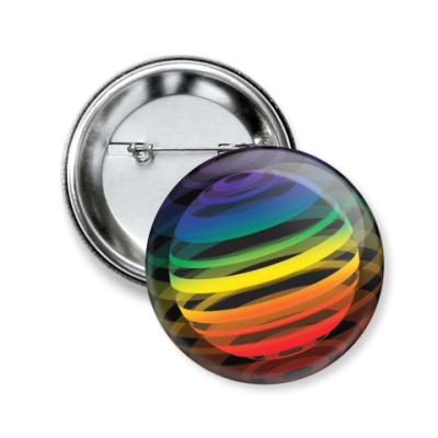 Значок 50мм   Разноцветный шар