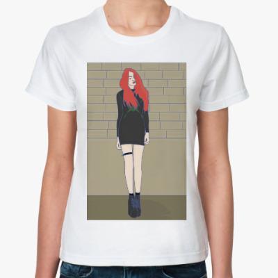 Классическая футболка девушка панк