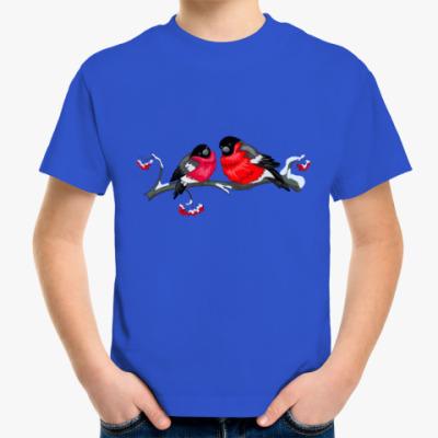 Детская футболка Снегири на рябине