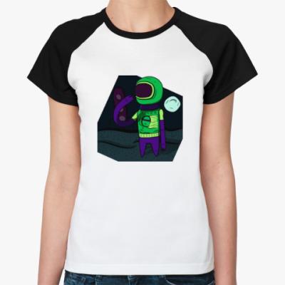 Женская футболка реглан Одинокий астронавт