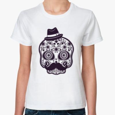 Классическая футболка Череп, Усы, Шляпа
