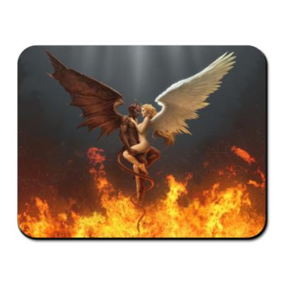 Коврик для мыши ангел и демон в огне