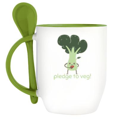 Кружка с ложкой Pledge to Veg