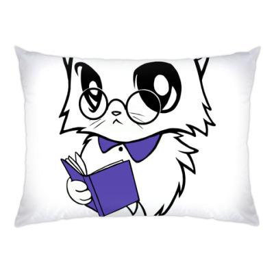 Подушка Белый кот ботаник