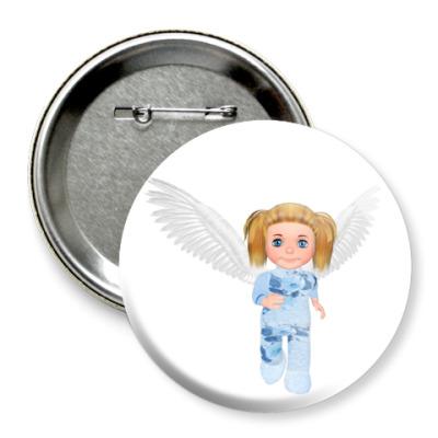 Значок 75мм Бегущий ангелочек