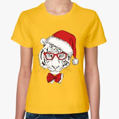 Женская футболка Тигр Санта