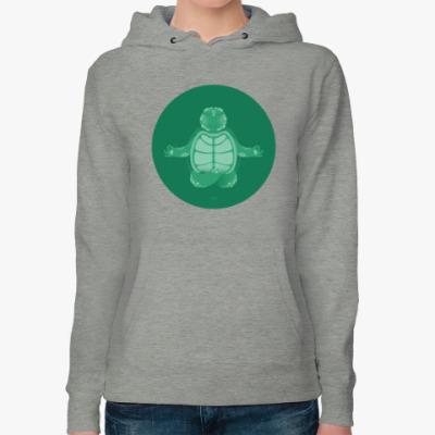 Женская толстовка худи Animal Zen: T is for Turtle