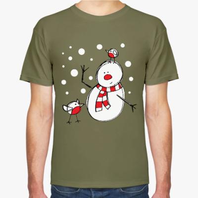 Футболка Снеговик и снегири в Новый год