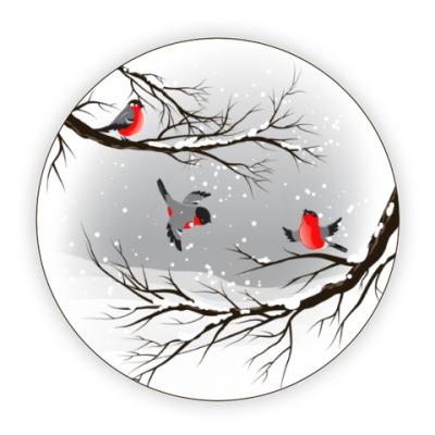 Костер (подставка под кружку) Снегири