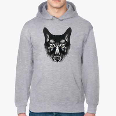 Толстовка худи Черный волк злой взгляд
