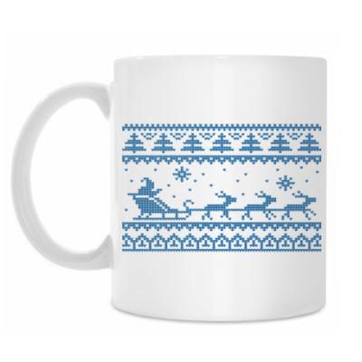 Кружка Олени Вязанные узоры Зима