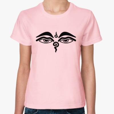 Женская футболка Глаза Будды