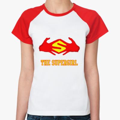 Женская футболка реглан 'Supergirl'