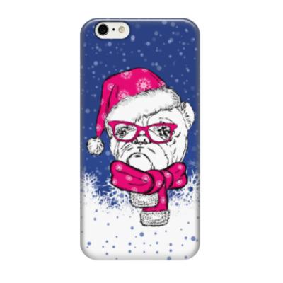 Чехол для iPhone 6/6s Бульдог Санта