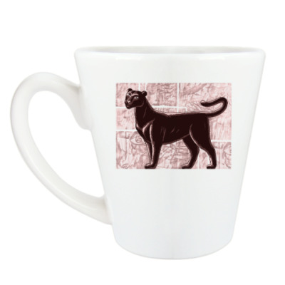 Чашка Латте Черная пантера - дикая кошка