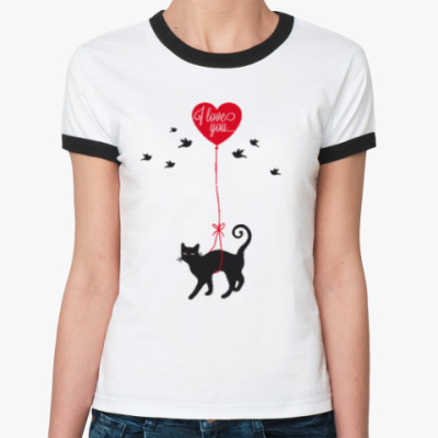 Женская футболка Ringer-T Кот и сердце