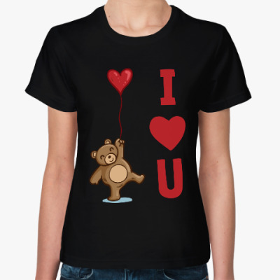 Женская футболка Мишка - I love you
