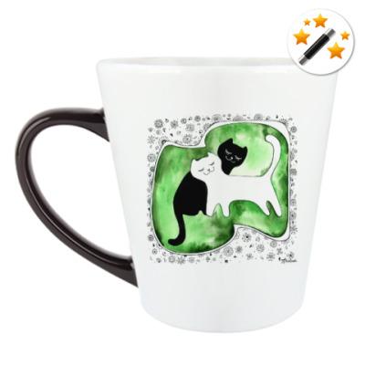Кружка-хамелеон 'Коты Инь и Янь'