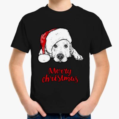Детская футболка Собака Санта