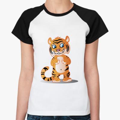 Женская футболка реглан Тигра