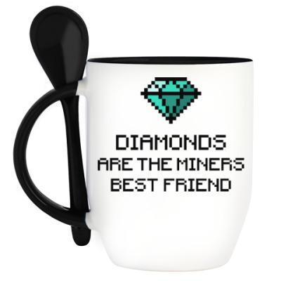 Кружка с ложкой Minecraft - diamonds