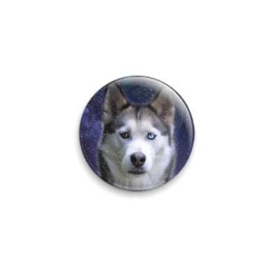 Значок 25мм Снежный пес