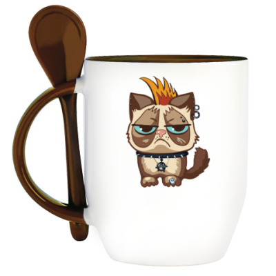 Кружка с ложкой Кот Тард (Grumpy Cat) неформал